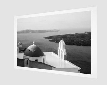 Domed Church Santorini Fine Art Print, 1:50 Limited Edition / home decor / decoration / photo / photography / black and white / lux / modern
