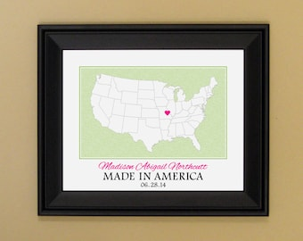 Personalized Baby Gift - Gift for Newborn Baby - Custom Nursery Art - Present for New Mom - Map of United States - Made In America - 11 x 14
