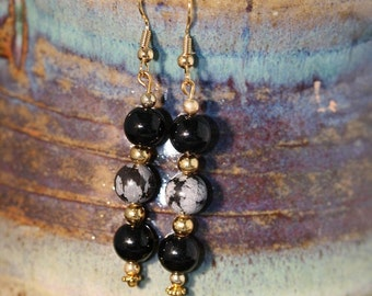 Obsidian and Snowflake Obsidian Earrings - Item 1087