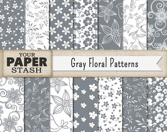 Gray Digital Paper, Floral Scrapbook Paper, Flower Backgrounds, Wedding, 25th Anniversary Digital Packs, Pewter, Masculine, Commercial Use
