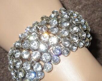 Vintage 1940's Diamante Bracelet - VERY Wide, VERY Sparkly, VERY Party!!!!