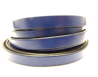 Navy 10 mm blue leather strap, sold by 20 cm