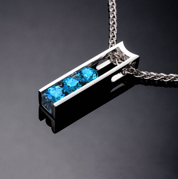 blue topaz necklace, Swiss blue topaz pendant, silver necklace, modern necklace, December birthstone, Argentium silver, delicate - 3503