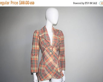 45% Off FLASH SALE - 1940s Style 1970s Women's Fitted Plaid Blazer Sportcoat Jacket - Preppy Vintage - Plaid Jackets - 70s Clothing  - WJ-38