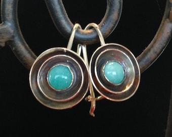 Turquoise Sterling Earrings - Handmade Sterling Turquoise Earrings - Blue turquoise earrings - Rustic turquoise earrings
