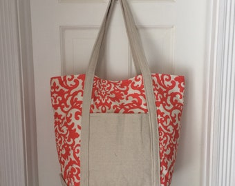 Large Coral Tote Bag