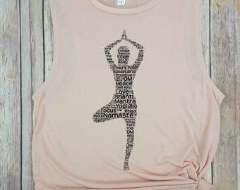 Yoga Muscle Tank, Yoga Top, Workout Tank, namaste, gym tank, Yoga Clothes, Spiritual Clothes, zen, inspirational tank, motivational tank