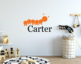 Name wall decals, Nursery wall decal, Wall decals for kids, Baby name decals, Caterpillar decal, Animal wall decals, Kids wall sticker DB253