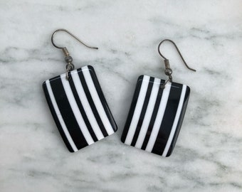 Vintage 80's Black and White Striped Rectangle Earrings