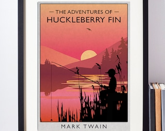 Huckleberry Finn alternative book cover print. Iconic fishing landscape scene from this iconic American classic by Mark Twain. A3, A4 or A5.