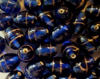 BEADS, GB-14RB, Murano Inspired, Royal Blue, 50/pcs/bag, Faux Murano Glass Beads, Beads, Vintage Beads, Loose Beads, Boho, Gypsy, Supplies