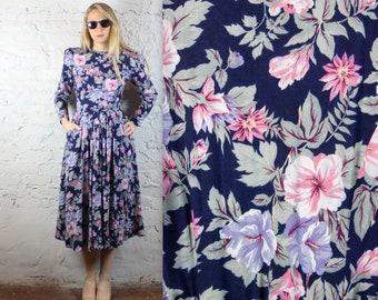 80's Sister Wives Floral Midi Dress with Pockets and Mega Shoulders in Women's Medium . Navy Pink Rose Flowers Violet Purple Shoulder Pads