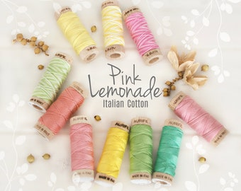 Embroidery Cotton Floss - Aurifil Cotton Floss - Aurifloss Embroidery Thread- Colorful Stitching Floss - 6 Strands - Pink Lemonade Colors