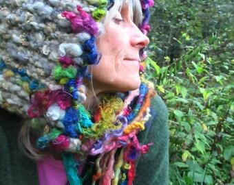 hand knit hat wool art yarn earthy fantasy hood - forest friend old world dream bonnet