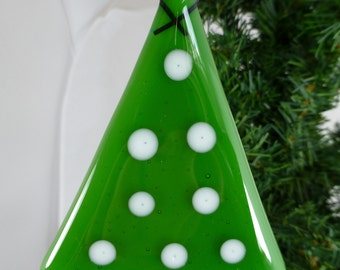 Fused Glass Green Christmas Tree with white Accents for festive decoration