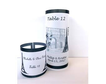 Table numbers,  Luminaries , Wedding centerpiece, wedding candle, wedding luminary, wedding name card, wedding place card, Paris wedding