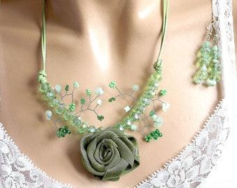 Green rose set romantic plant branch