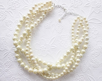 Pearl Statement Necklace, Ivory Pearl Statement Necklace, Twisted Pearls, Bridal Necklace