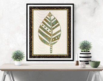 FRAMEABLE ART (Digital Download) - Gilded Leaves in Autumn 1 - Printable Download - Wall Art - 8x10 - Digital product