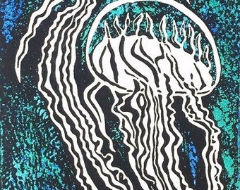 """Original linocut print on mulberry paper, gift for her, 4 1/2"""" x 12"""" jelly fish: Neddle Ribbons"""
