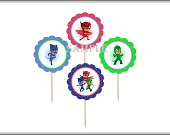 PJ Masks Birthday Cupcake Toppers  | 12 Food Toppers | Themed Birthday Party