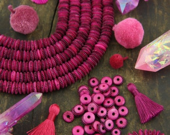 Pink & Black Serration : Hand Carved Bone Rondelle Spacer Discs, 10x3mm, Bohemian Jewelry Making Craft Supply, Boho, Festival, 68+ pcs