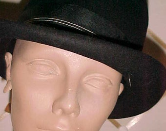 Vintage Black Felt Hat, Rolled Brim, 23 inches  #H24