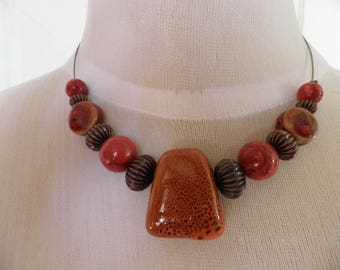 Orange and Red ceramic wire necklace
