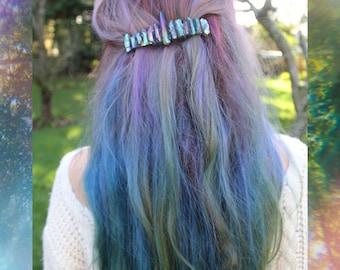 Crystal Barrette / Raw Crystal Crown / Crystal Hair Clip / Bridal Hair Piece / Rainbow Clip / Quartz Hair Jewelry / Gift for Her / Hair Clip