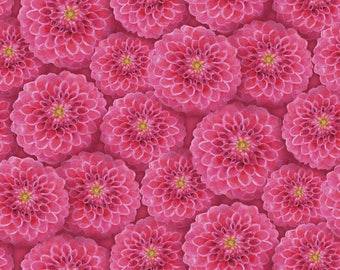 Wilmington Prints - Prelude - Packed Dahlias Pink by Cynthia Coulter