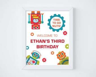 Robot Birthday Party Welcome Sign - Printable Robot Party Sign - Robot Birthday - Two Sizes - DIGITAL DESIGN