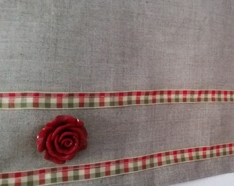 Natural Line cafe curtains, Kitchen Curtains, Window Curtains, Cafe curtains, Linen curtains,Christmas Decor, Red lace cafe curtains.
