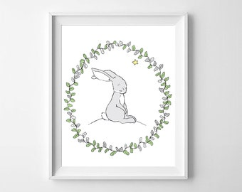 Bunny Rabbit Wall Art,Bunny Nursery Art,Bunny Rabbit Children,Bunny Rabbit Printable,Woodland Bunny Nursery,Bunny Rabbit  Kids Decor,Bunny