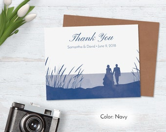 Outdoor Wedding Thank You Cards, Beach Watercolor Thank You Notes, Personalized Recycled Unique Nature Custom Navy Blue Couple Kraft