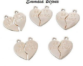 Gold best friend heart pendant charms