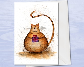 Cute cat birthday card, cat card, card for cat lover, cute birthday card, cat with gift, tabby cat, sweet birthday card, greetings card