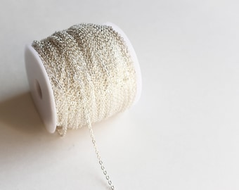 330ft Silver Cable Chain Spool - Silver Plated - 2x3mm - Lead Free - 100M - Ships IMMEDIATELY from California - CH597