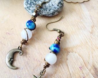 Moon Stars Earrings. Gemstone earrings with Crescent moon. Moonstone Earrings Jasper beads. Moon Star pendant. Moonchild earrings. Healing