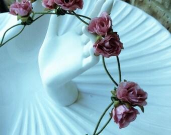 Pretty Dusty Rose Silk Flower Wedding Wreath/Crown