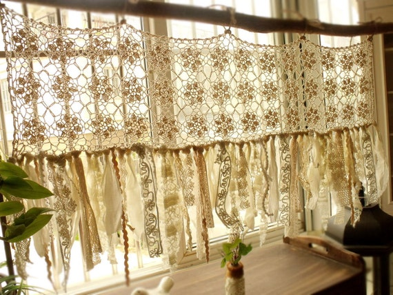Vintage hippie valance boho handmade crochet curtain window for Cantonniere shabby chic
