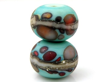 Avatar Earring Pair SRA Lampwork Handmade Artisan Glass Donut/Round Beads Made to Order Pair of 2 8x12mm