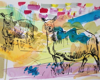 Glaisdale Ewe & Lamb, Screenprint, Hand Pulled in the UK, Limited Edition, Print, Mixed Media-Ready Mounted
