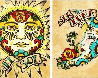 Mexican Folk Art Prints Sun Moon Loteria El SOL & LA LUNA 5 x 7, 8 x 10 or 11 x 14 Set