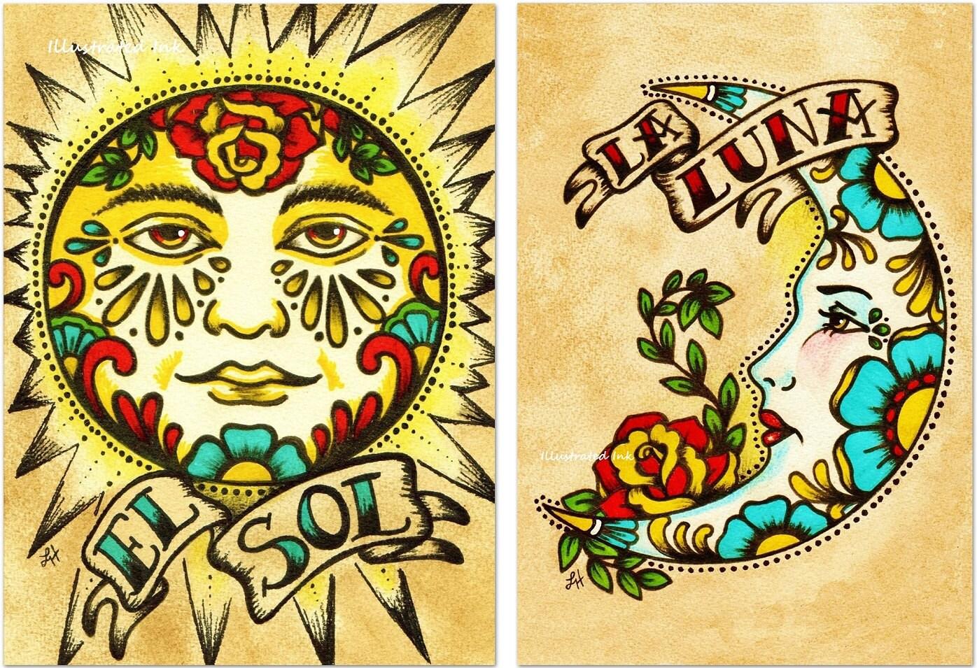 Mexican Folk Art Prints Sun Moon Loteria El SOL & LA LUNA 5 x
