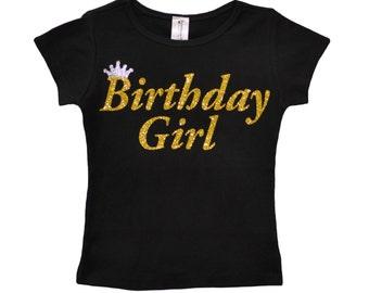Birthday Girl Shirt Party T-Shirt Black and Gold Shirt Tee Tween Girl Teen Girl Birthday Shirt Personalized Name 3 4 5 6 7 8 9 10 11 12 13