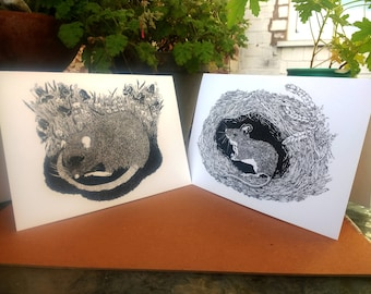 Set of two illustrated Greetings Cards - 'The Wood Mouse' and 'The Napping Rat'.