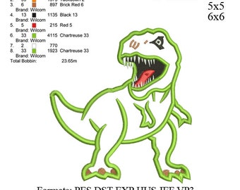 Scary T-rex Dinosaur Applique Embroidery Design,Dinosaur embroidery pattern No 528 ... 3 sizes