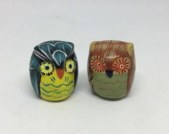 retro owls, miniature owls, 70s owls,  bird figurines, vintage owls, paper mache owls, paper mache owls, miniature birds, miniature figurine
