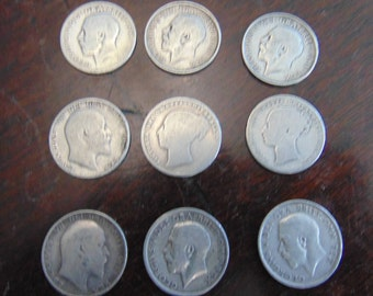 9 Antique silver shilling coins from 1877-1917