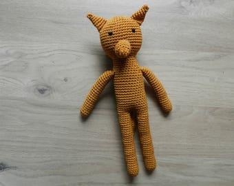 Plush Red Fox in crochet, amigurumi, cotton